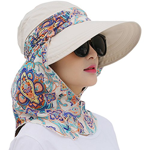 Lanzom Women Lady Wide Brim Cap Visor Hats UV Protection Summer Sun Hats  White 1c44b8f93c5a