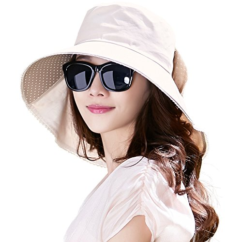 Siggi Womens Wide Brim Summer Sun Flap Bill Cap Cotton Hat Neck Cover UPF 50+  Beige ddda5af118c3