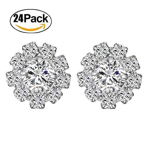 Package include  24 pcs x clear rhinestone Buttons Each button made of 9  small Clear crystals + 1 big crystal 7f66b6c09da5