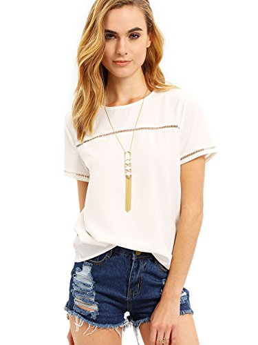 cc59ae00 Romwe Women's Loose Short Sleeve Round Neck Solid Summer T-Shirt Tops Blouse.  Size chart: x-small: shoulder:15 inch, waist size:38. 4 inch, bust:35.