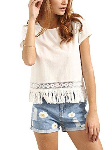 e64125d4774 ROMWE Women's Round Neck Short Sleeve T-Shirt Tee Blouse Casual Tops ...
