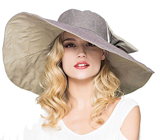 cad18fe0 Lanzom Womens Large Brim Floppy Foldable Roll up Beach Cap Sun Hat UPF 50+  B-Khaki