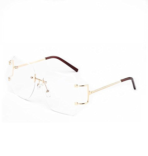 d8e8343e01ef MINCL Hot Oversized Rimless Sunglasses Women Clear Lens Eyewear