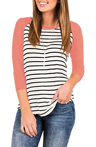 ae1d59d43f456 EZBELLE Women's Striped Raglan T Shirt 3/4 Sleeve Baseball Tunic Tops Blouse